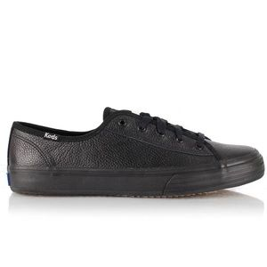 KEDS Black Double Up Tumbled Leather Sneakers